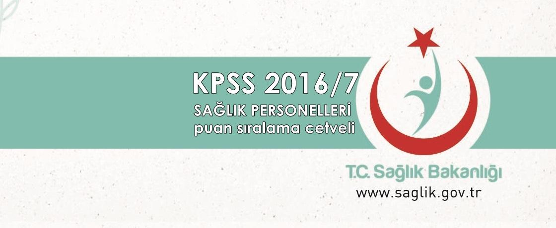 2016/7 KPSS sağlık puan sıralamaları