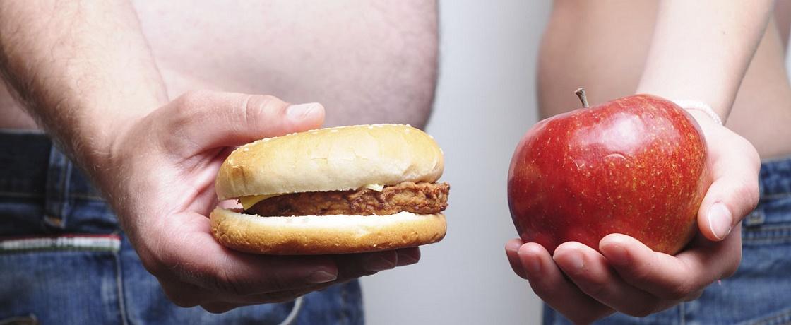 obezite, elma, hamburger