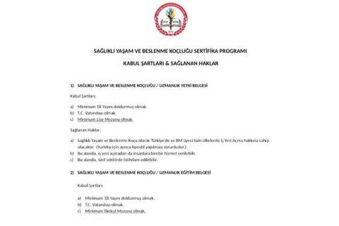 Sağlıklı yaşam ve beslenme koçluğu uzmanlık eğitimi