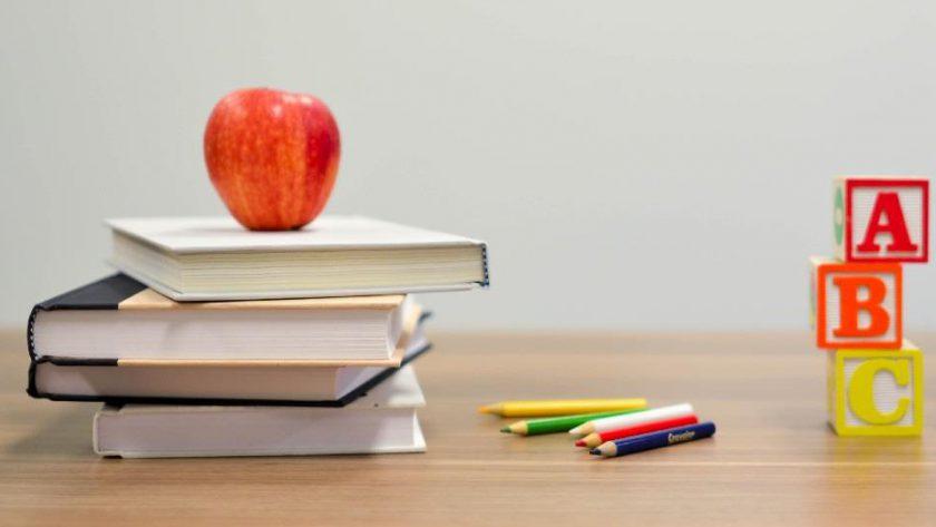 elma, okul, ders, beskenme çantası, kitap, alfabe